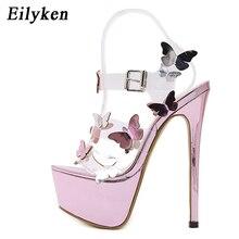 Eilyken sandały gladiatorki kostki pasek sandały na platformie kobiety kwiat przezroczyste kobiety pompy 17CM lato Sexy fioletowy kobieta sandał