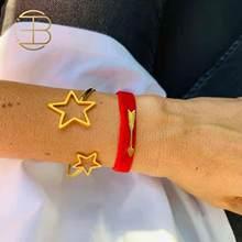 2020 nouvelle Mode Creuse Étoile Coeur Charme Bracelet Torsadé Bracelets Pour Femme Couleur Or Amour Bracelet Manchette Bijoux