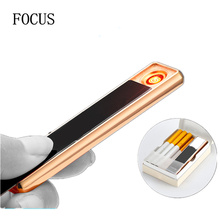FOCUS Protable charging electric lighter Ultra-thin and lightweight Metal Material windproof flameless usb rechargeable