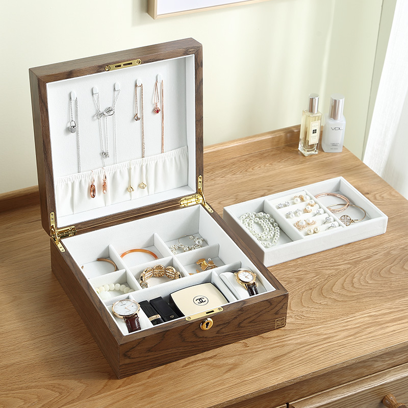 Casegrace Luxury Large Square Wooden Jewelry Box Organizer With Lock Velvet Watch Ring Necklace Jewellery Storage