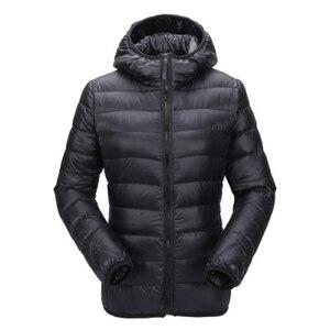 Image 4 - ZOGAA kadın ultra hafif şişme mont kapşonlu kış ördek aşağı ceket kadın ince uzun kollu Parka fermuar Coats cepler ceketler