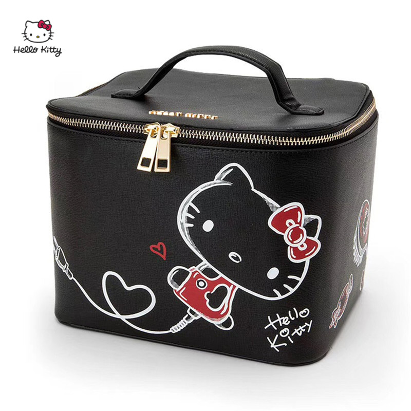 HELLO KITTY Fashion Casual Handbag Portable Large Capacity Ladies Storage Bag Cosmetic Bag PU Material HK-TT056