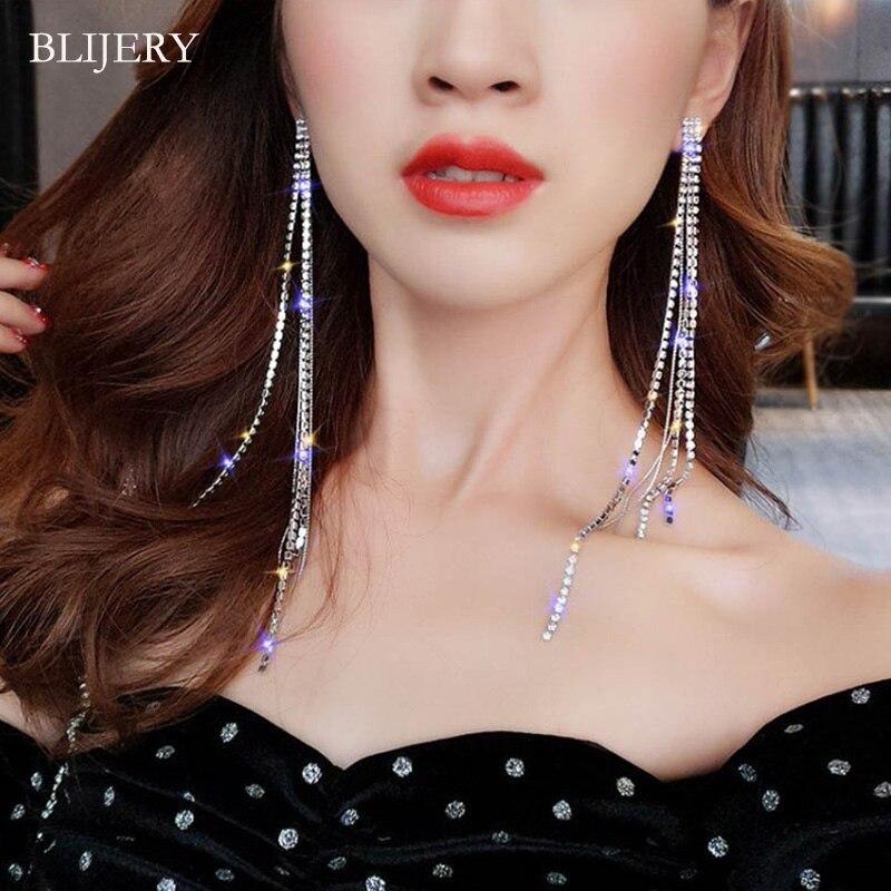 BLIJERY New Silver Color Rhinestone Crystal Long Tassel Earrings For Women Bridal Dangling Drop Earrings Brincos Wedding Jewelry