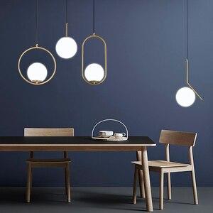 Image 4 - Nordic szklane kulki wisiorek światła nowoczesne lampy wiszące LED do salonu mosiądz/czarny/chrom lampa wisząca
