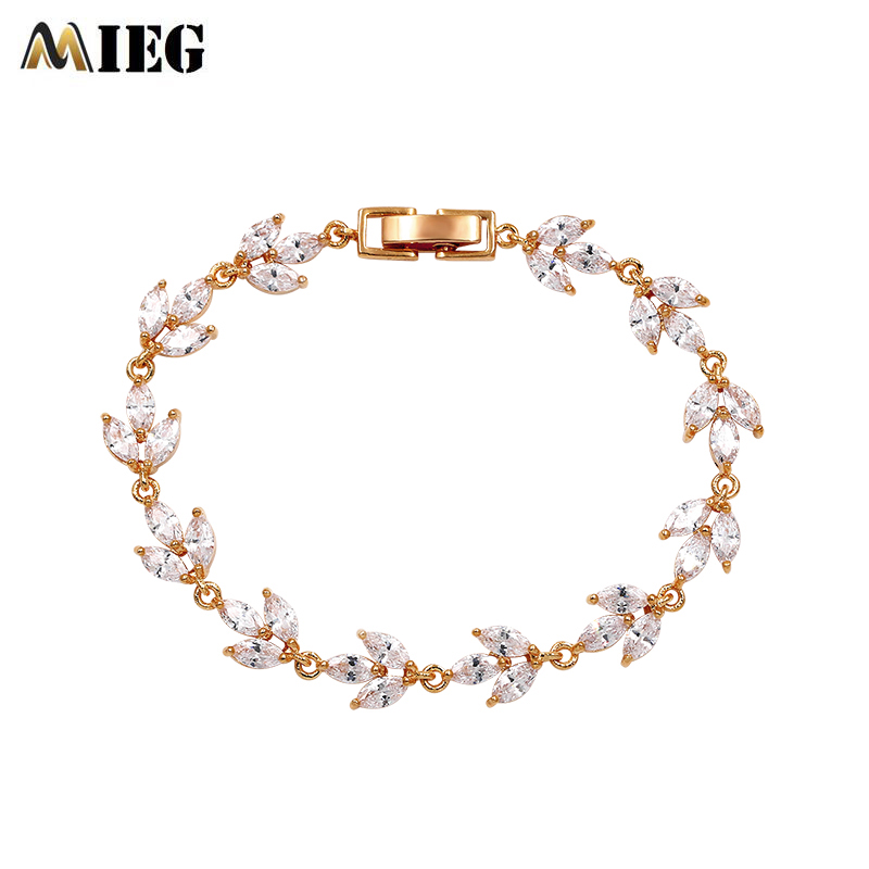 MIEG High Quality Cubic Zirconia Bracelets Bangles For Women Charming CZ Clear Leaf Crystal Link Chain Bracelets