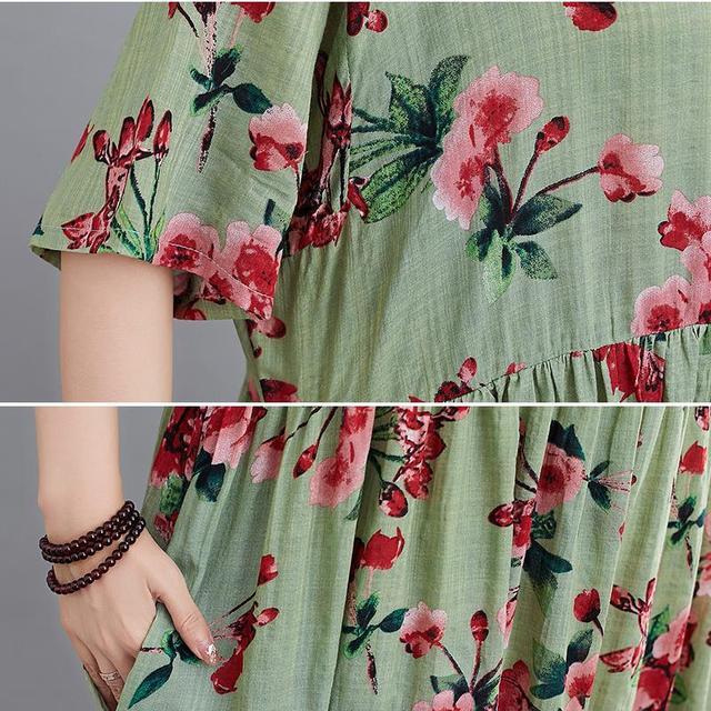 Plus Size Floral Summer Beach Dress Korean Cotton Ladies Dresses for Women 4XL 5XL 6XL Vintage Print Oversized Long Dress 2020 6