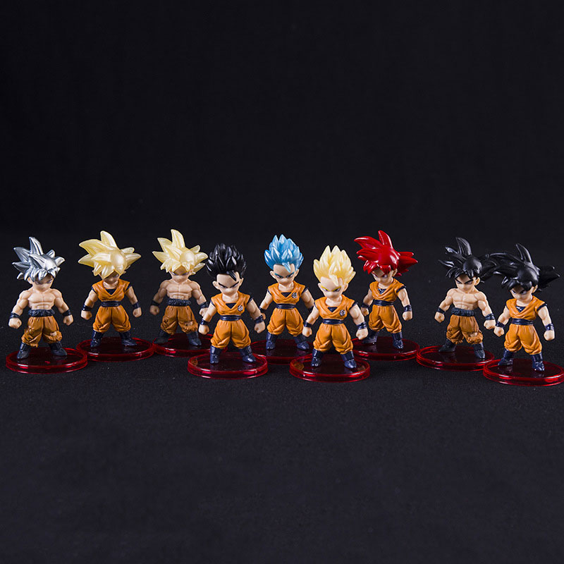 7cm Real Goku Dolls Dragon Ball set PVC Goku Vegeta Freezer Vegetto Anime Collection Character Model Toys 21pcs/set