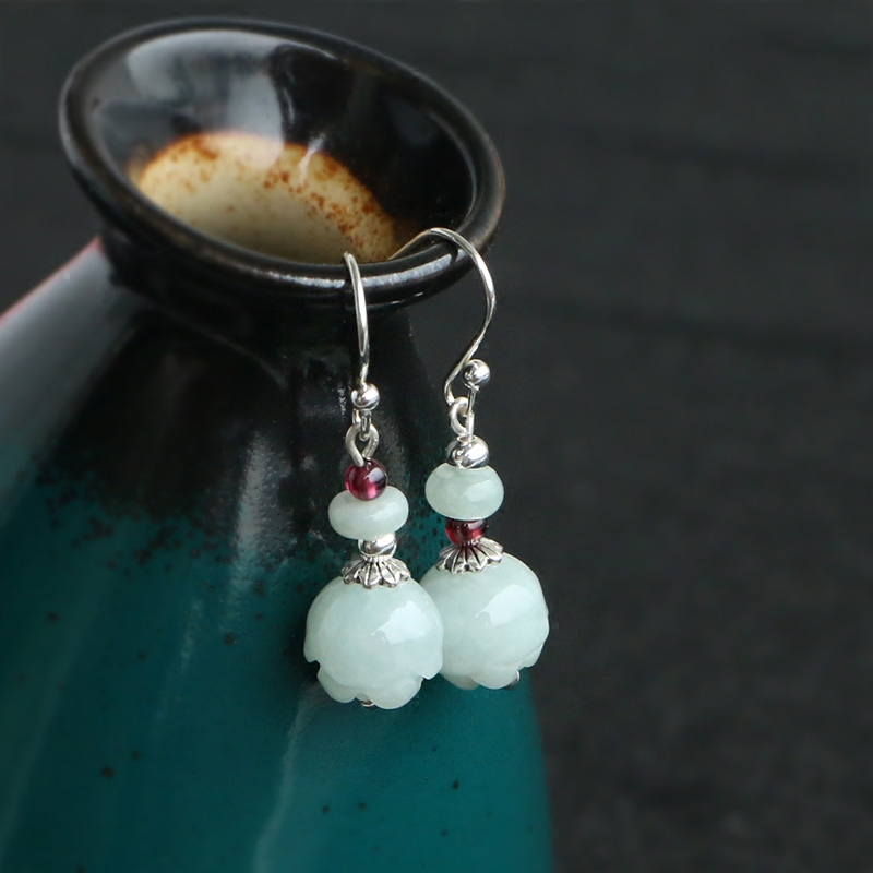 Natural Jade Emerald Luck Lotus Earrings Bead Charm Jewellery Fashion Accessories Hand-Carved Man Woman Amulet Gifts