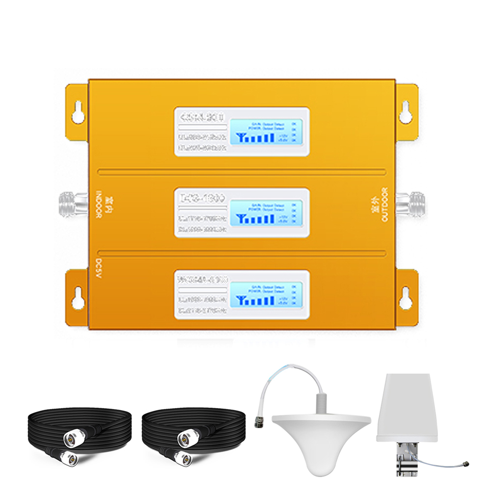 Tri Band Mobile Signal Repeater 2G 3G 4G Cellular Signal Booster Amplifier GSM 900/DCS 1800/WCDMA 2100MHz