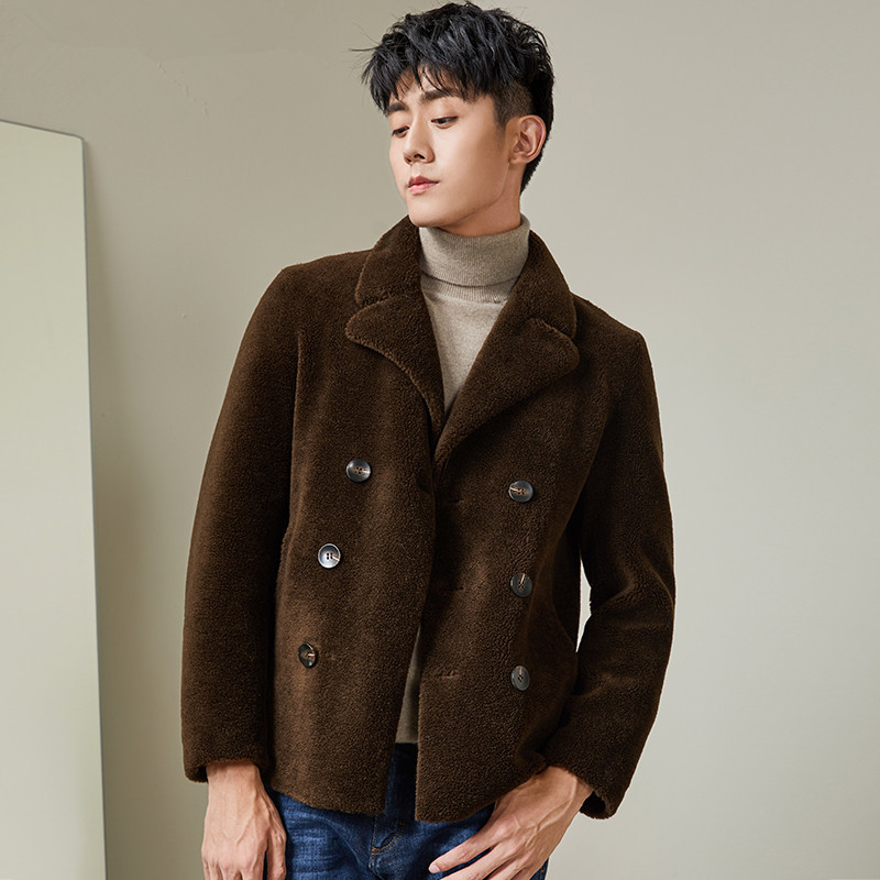 Real Wool Fur Coat Men Autumn Winter Sheep Shearing Jacket Short Brown Leather Jacket Manteau Homme MG-1800061 KJ1323