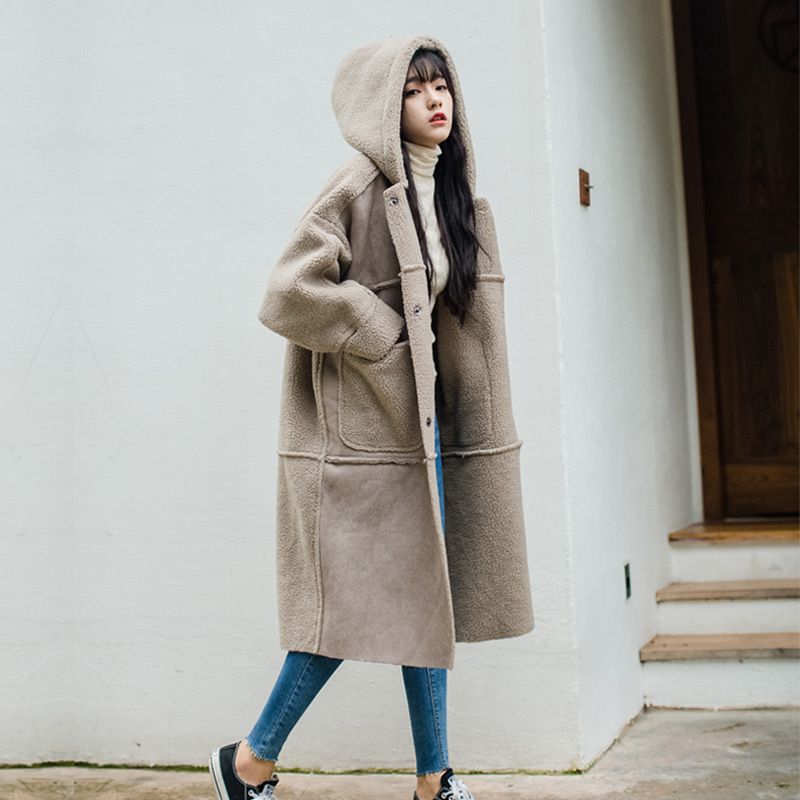 Winter Lambs Wool Coat Women's Fur Loose-Fit Thick Over-the-Knee Suede Hooded Mid-length Cotton-padded Clothes Cotton Coat