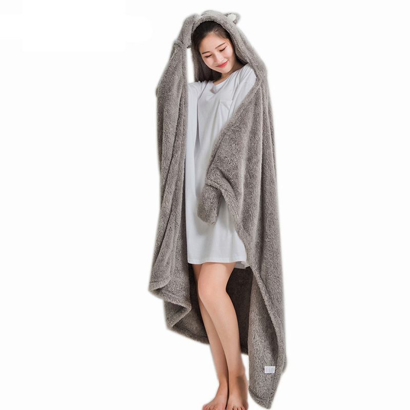 Women Hooded Warm Blankets Coral Velvet Shawl Lazy Multifunctional Office Air-conditioned Lunch Break Blanket Sofa Throw Plaid