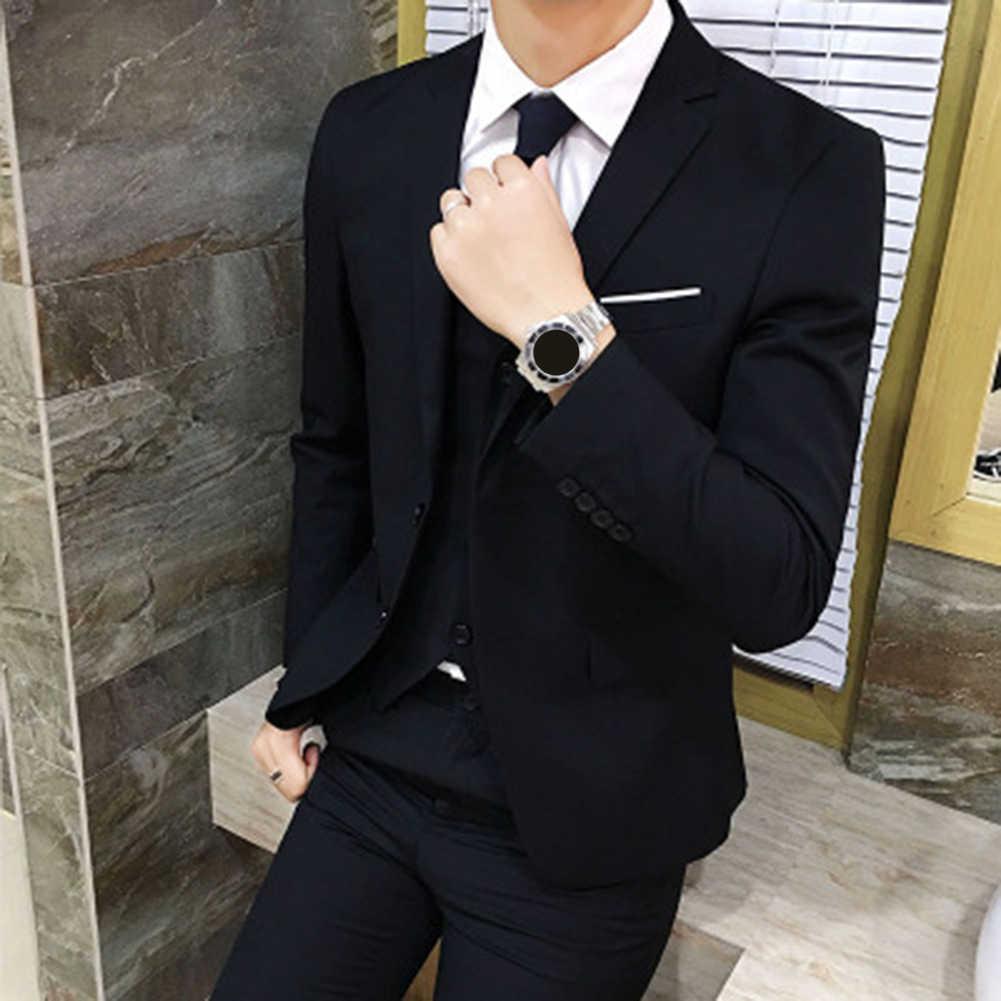 男性ビジネスブレザー春秋のフォーマル男性のコート男性ファッション無地ブレザー長袖ラペルスリムフィット платье пи