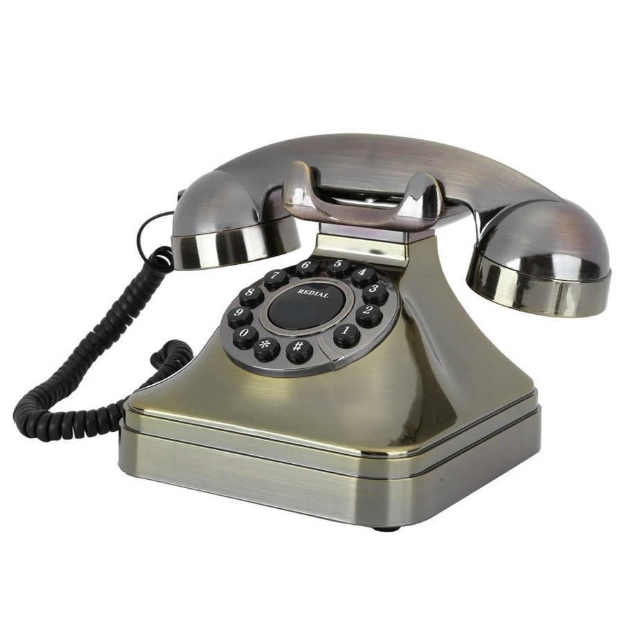 telefono inalambrico Vintage Landline Telephone Antique Bronze High Definition Call Large Button US/UK Wiring Vintage Telephone