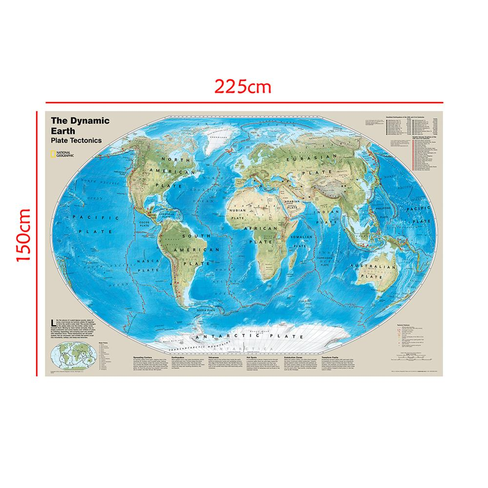 The Dynamic Earth Plate Tectonics Map With Deadliest Earthquakes Of 20th And 21st Centuries 150x225cm Non-woven Map