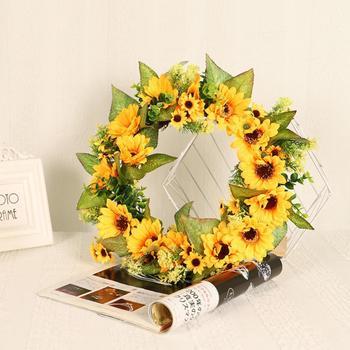 45cm słonecznik sztuczne drzwi kwiatowe wianek jedwabne dekoracje ślubne wianek wianek drzwi DIY ściana dekoracje na domowe przyjęcie tanie i dobre opinie CN (pochodzenie) Jedwabiu ROUND