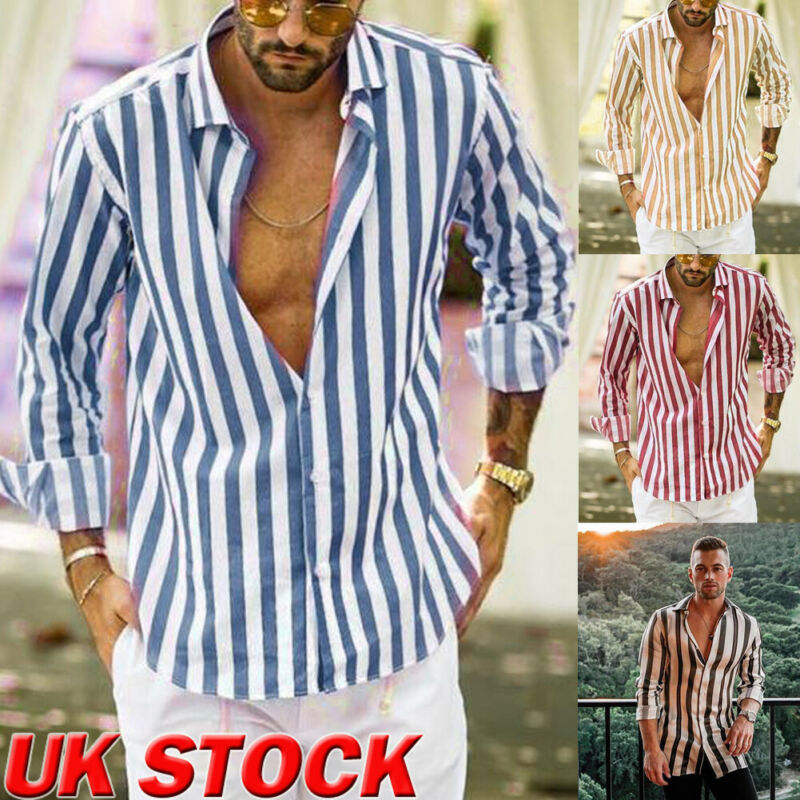 2019 New Men Fashion Cotton Linen Shirts Long Sleeve Summer Striped Shirt Casual Loose Comfy Top