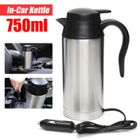 750ml 12V Car Based Heating Travel Thermoses Stainless Steel Cup Kettle Coffee Tea Heated Mug Motor Hot Water For Car Truck Use