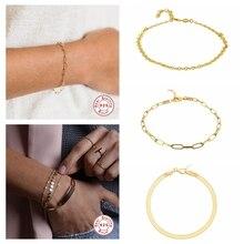 Charm-Bracelets Minimalist-Stand Fine-Jewelry 100%925-Sterling-Silver Bangle Adjustbale