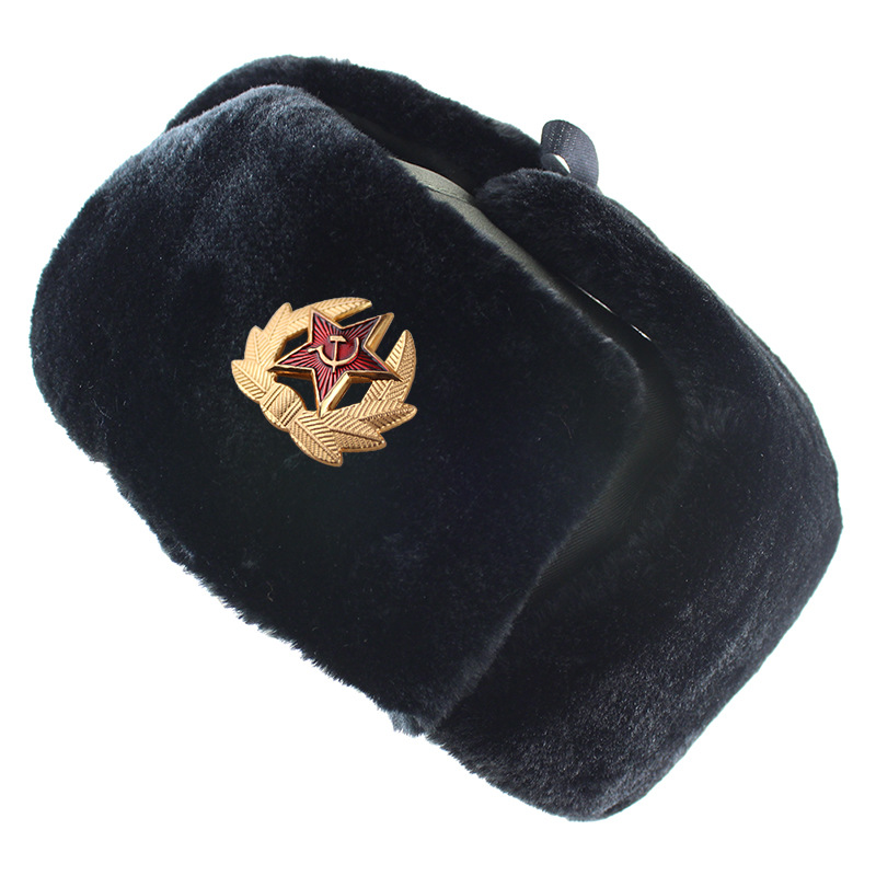 Soviet Military Badge Russia Ushanka <font><b>Bomber</b></font> <font><b>Hats</b></font> Pilot Trapper trooper <font><b>Hat</b></font> Winter Faux Rabbit <font><b>Fur</b></font> Earflap Men Snow Caps image