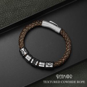 Image 3 - Мужские браслеты с черными цирконами REAMOR, Роскошные браслеты из нержавеющей стали с золотыми бусинами, плетеный браслет ручной работы из натуральной кожи, ювелирные изделия