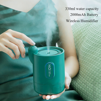 Portable Wireless air Humidifier 2000mAh Rechargeable Built-in Battery Cactus Ultrasonic Cool Mist Aroma Essential Oil Diffuser