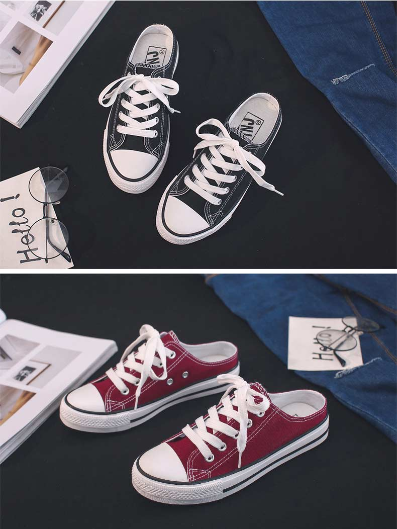 Casual half-drag canvas shoes woman 2019 new fashion solid sneakers women vulcanized shoes lace-up no heel lazy shoes flats (14)