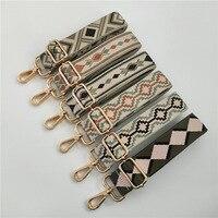 Correa de bolso de algodón y poliéster para mujer, bandolera mensajero colorida, cinturones bordados ajustables, accesorios, correa de hombro