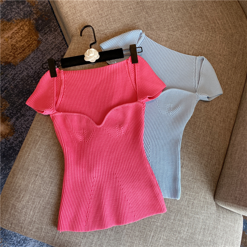H76c6af6bcdaf41bb9d90cef51d32bea2V 2020 New Women Summer Sexy Square Collar Knitted T Shirts Pure Color Women Short Sleeve Slim T Shirt s For Women White Tees