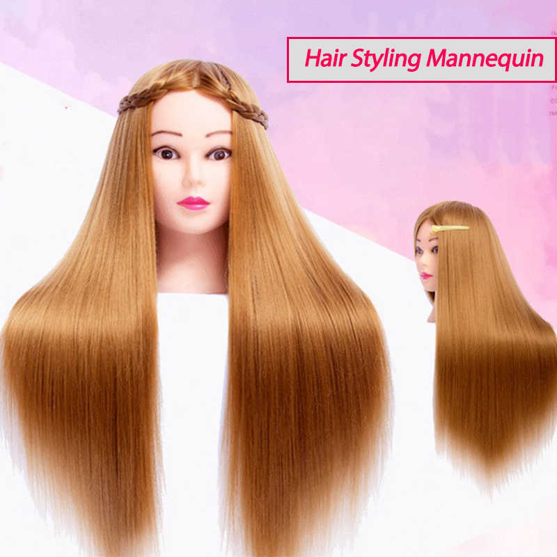 Training Mannequins For Hairdressing Practice Hairstyles Head Training Dummy Dolls 100% High Temperature Fiber Hair Mannequins