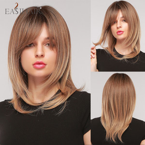EASIHAIR Medium Straight Ombre Brown Synthetic Women's Wig with Bangs Layered Heat Resistant Cosplay Natural Hair Wigs for Women