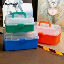 YINLONGDAO 3 слоя хранения коробка пластиковые портативный складной инструменты организатор многоцелевой ювелирные изделия бисер, с ручкой