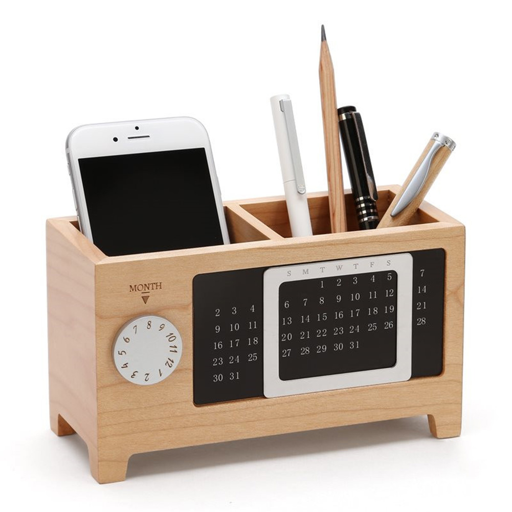 Wooden Organizer Pen Pencil Holder Case With Calendar Ornaments Table Storage Container 2 Grids Wooden Storage Box Gift New