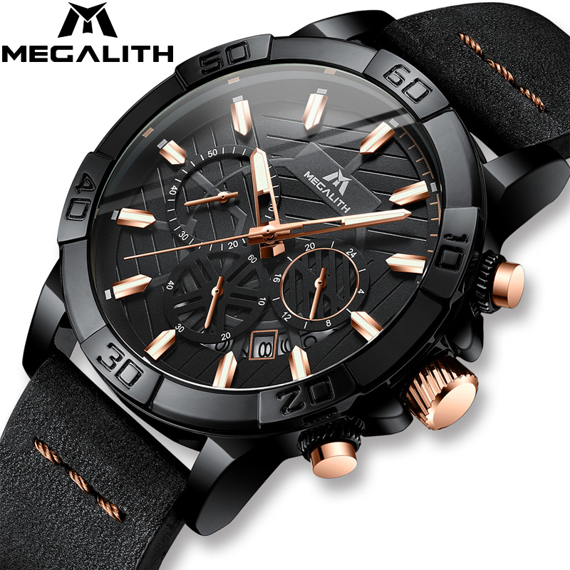 2019 Top Brand Watch Men MEGALITH Luxury Sport Chronograph Waterproof Watch Men Black Leather Strap Clock For Men Relojes Hombre