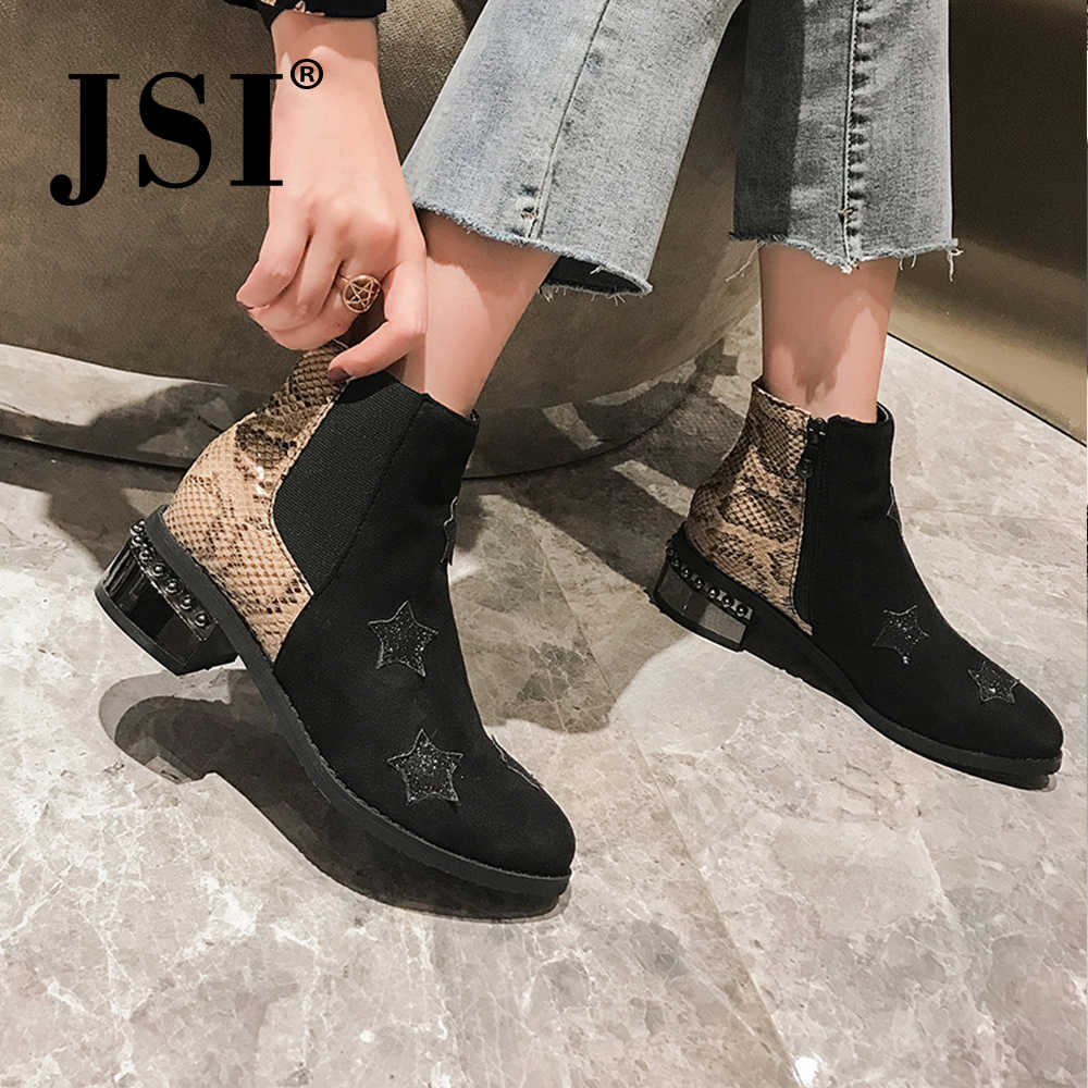 JSI Winter Boots Women Pointed Toe Square Heel Zip Snake Print Boots Med Heel Ankle Handmade Microfiber Bling Shoes Women je44