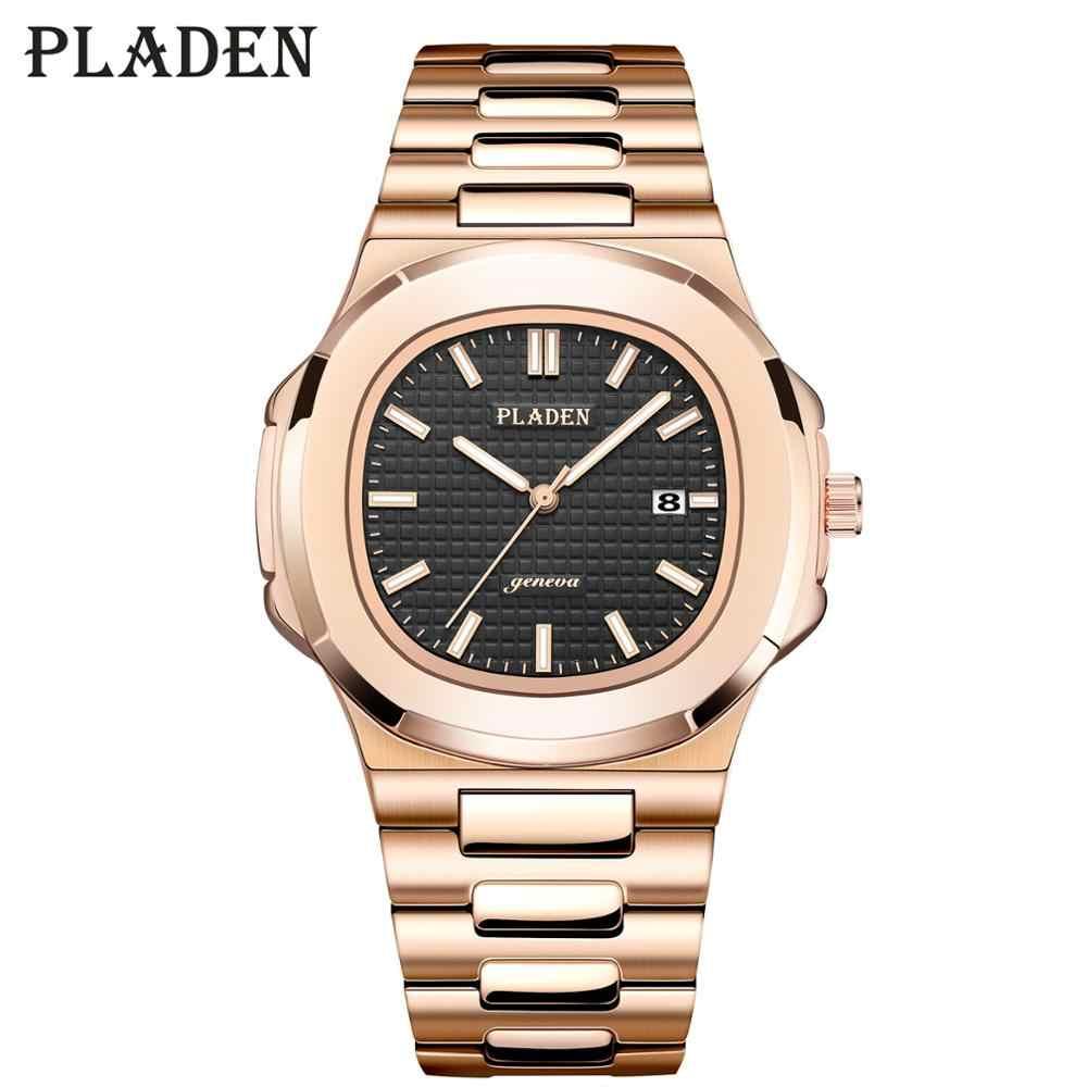 PLADEN Mens שעונים למעלה מותג יוקרה שחור Rolexable_Watch גברים רוז זהב קלאסי יפן Movment קוורץ Canlendar זכר שעון יד