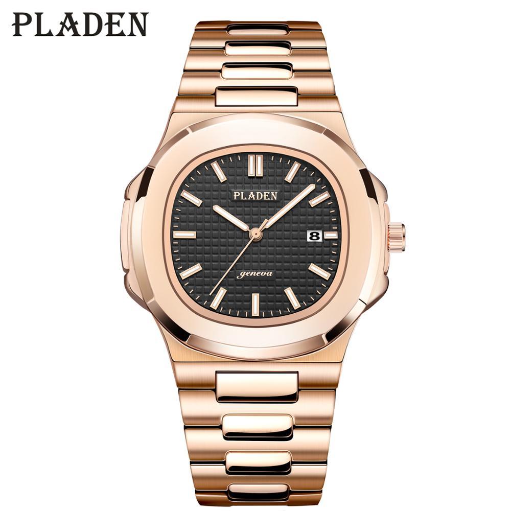 PLADEN Mens Watches Top Brand Luxury Black Rolexable_Watch Men Rose Gold Classic Japan Quartz Movment Canlendar Male Wrist Watch