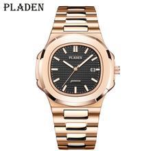 Часы наручные PLADEN Мужские кварцевые, брендовые роскошные черные Украшенные стразами, Классические Японские, цвет розовое золото, Mov