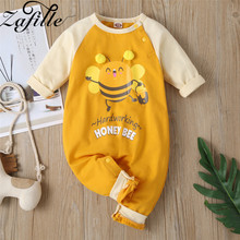 ZAFILLE Cute Newborn Infant Baby Girl Clothes Bee Printed Cotton Baby Romper Cotton Kids Baby Boy Clothes Long Sleeve Jumpsuits zafille long sleeve baby romper printed baby boy clothes cotton newborn infant baby girl clothing kids clothes baby jumpsuits