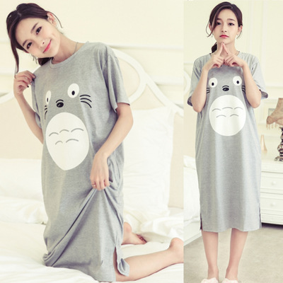 Short Sleeve Nightgown Women's Summer Nightgown Gray Totoro M-XXL (9 Yuan) 2019 New Style Large Furniture Foot Code