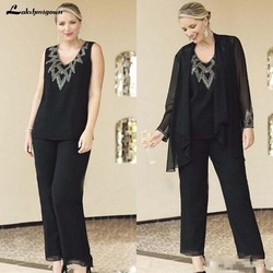Black Mother Of The Bride Dresses Pant Suits with Wrap Chiffon 3 Pieces Plus Size Mother's Formal Dresses for Wedding Party
