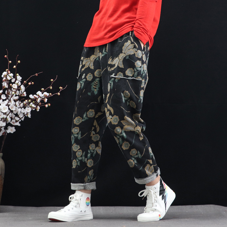 Women Geometric Floral Printed Denim Straight Pants Elastic Waist Loose Autumn Spring Vintage Trousers Loose Pocket Jeans Femme