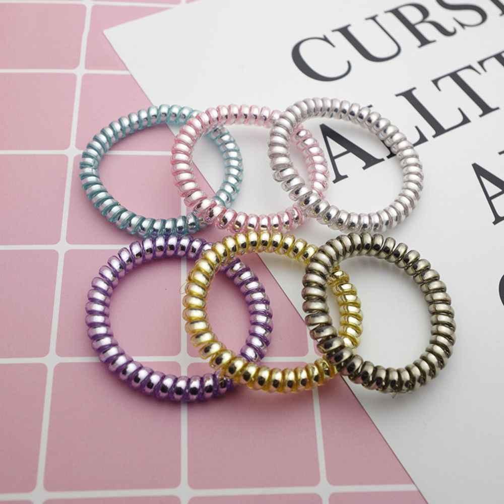 Simple Useful Creative Silver Color Thin Phone Line Hair Rings Color Medium Hair Tie Hair Rope Korean Hair Accessories for Girls