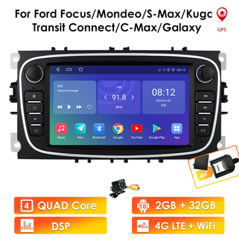 Android 10 GPS Car Radios 2 Din Car Multimedia player Stereo 7'' Audio DVD Player For Ford/Focus/S-Max/Mondeo 9/GalaxyC-Max image