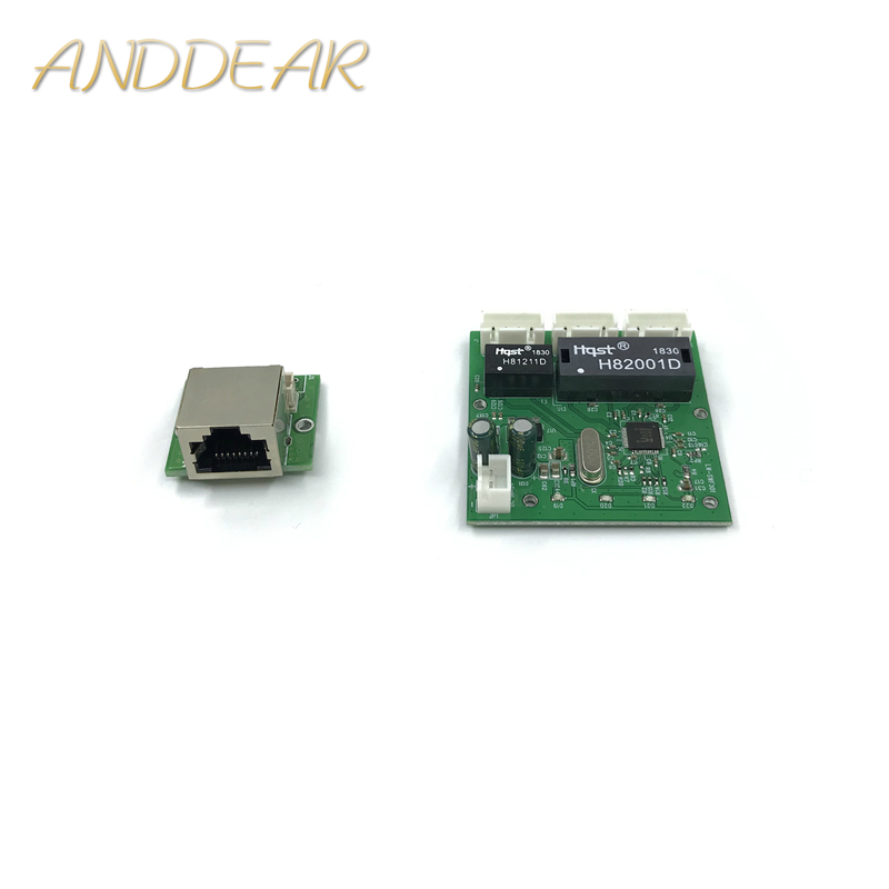 OME 3 Ports Switch Module PCBA 4 Pin Header UTP PCBA Module With LED Display Screw Hole Positioning Mini PC  Data OEM Factory