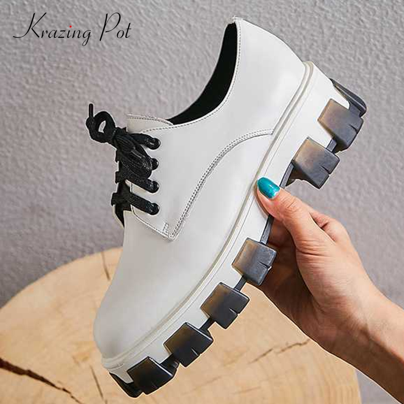 Krazing Pot New Genuine Leather Round Toe Platform Casual Convenient Lace Up Hiking Fashion British School Vulcanized Shoes L8f3