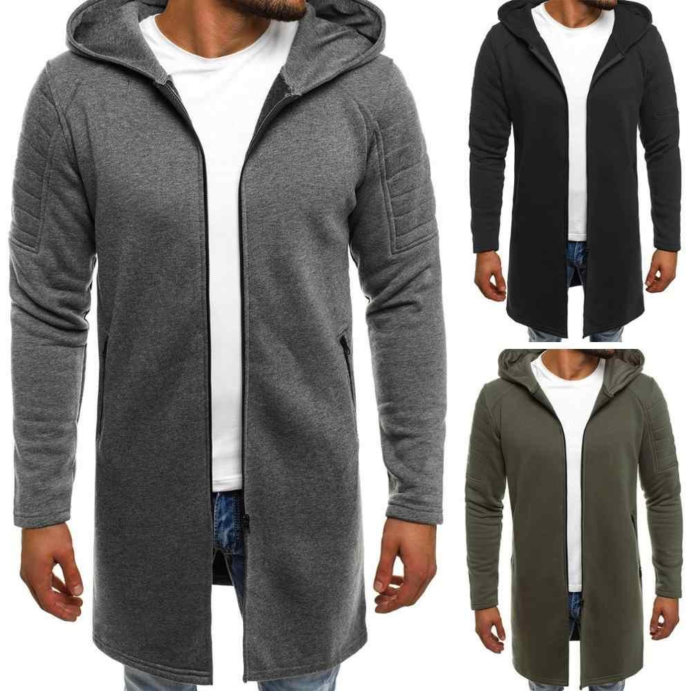 2019 outono inverno dos homens com capuz listra casaco casual engrossar lã trench coat negócios masculino sólido clássico médio longo topo