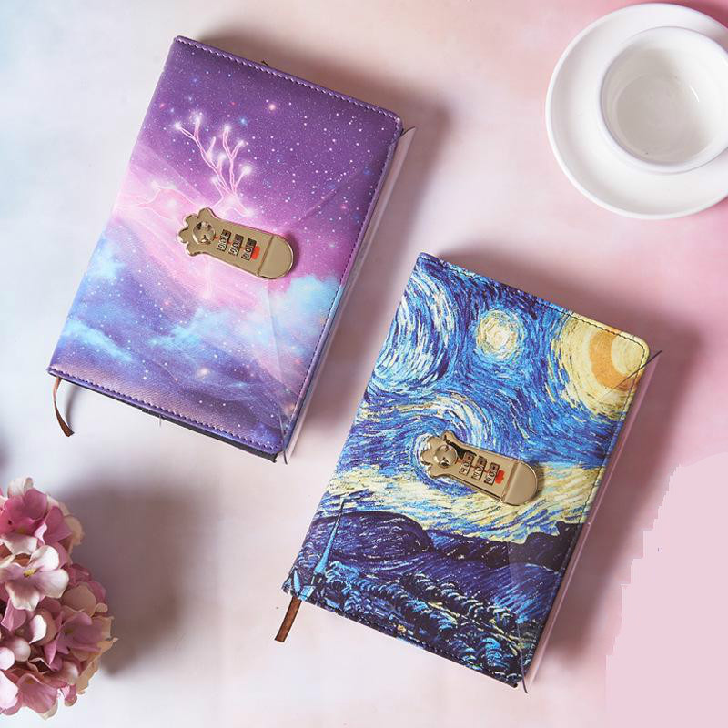 A5 Planner Starry Sky Codebook  And Journals Password Agenda Office Bussiness Diary With Lock  Notebooks School Supplies