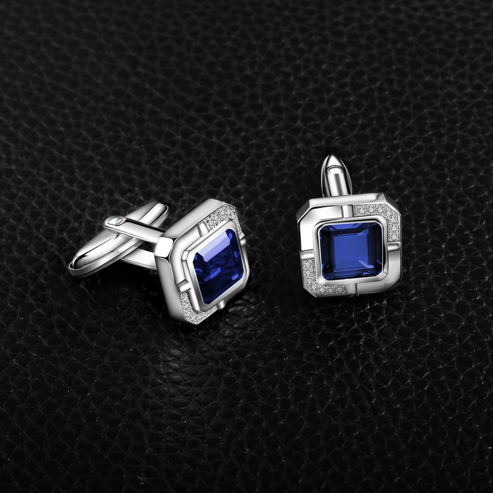 Jewelrypalace Men's Created Sapphire Anniversary Engagement Wedding Cufflinks  925 Sterling Silver-1