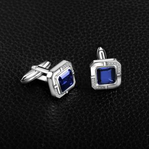 Image 2 - Jewelrypalace Mens Created Sapphire Anniversary Engagement Wedding Cufflinks  925 Sterling Silver